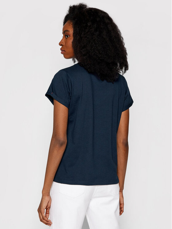 Tommy Hilfiger Tommy Hilfiger T-shirt Low V UW0UW00676 Bleu marine Regular Fit