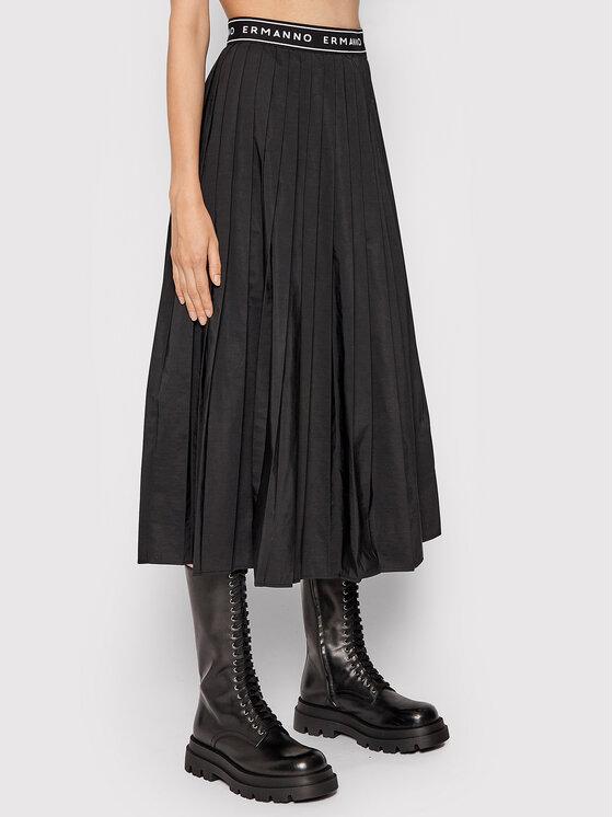 Ermanno Firenze Trapecijos formos sijonas GN17RAB Juoda Regular Fit