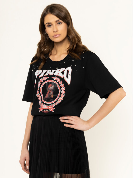 Pinko Pinko T-Shirt LUCIA HEFFERNAN Cobalt PE 20 PHEFF 1N12L2 Y68F Czarny Regular Fit