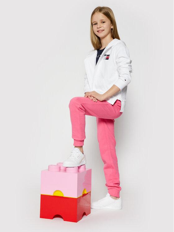 Tommy Hilfiger Tommy Hilfiger Spodnie dresowe Flag Print KG0KG05769 D Różowy Regular Fit