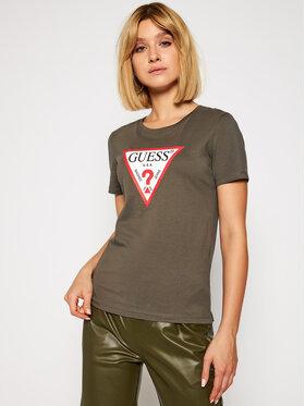 Guess Guess Marškinėliai Original Tee W0BI25 I3Z11 Žalia Regular Fit