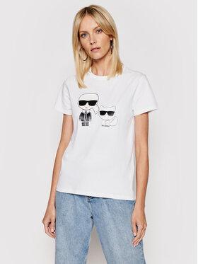 KARL LAGERFELD KARL LAGERFELD Marškinėliai Ikonik & Choupette 210W1724 Balta Regular Fit