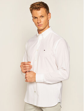 TOMMY HILFIGER TOMMY HILFIGER Koszula Natural Soft End On End Shirt MW0MW12736 Biały Regular Fit