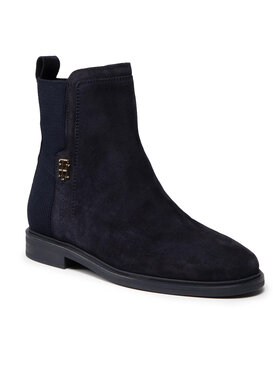 Tommy Hilfiger Tommy Hilfiger Kotníková obuv s elastickým prvkem Th Essentials Flat Boot FW0FW05995 Tmavomodrá