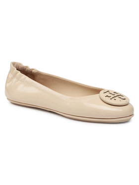 Tory Burch Tory Burch Baleriny Minnie Travel Ballet With Leather Logo 75472 Beżowy
