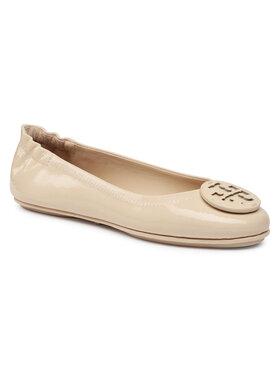 Tory Burch Tory Burch Μπαλαρίνες Minnie Travel Ballet With Leather Logo 75472 Μπεζ