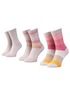 QUAZI QUAZI Súprava 3 párov vysokých dámskych ponožiek QZ-SOCKS-65-04-WOMAN-005 Béžová
