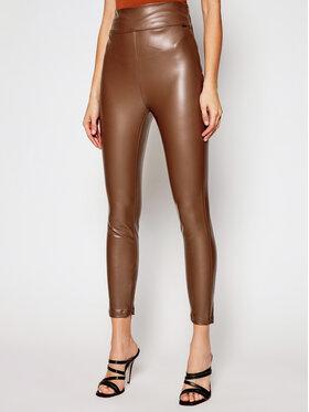 Guess Guess Панталони от имитация на кожа Priscilla W1RB25 WBG60 Кафяв Slim Fit