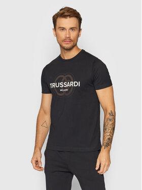 Trussardi Trussardi T-Shirt Logo 52T00514 Czarny Regular Fit
