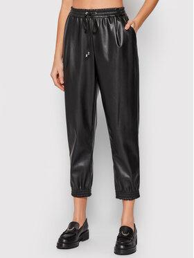 DKNY DKNY Spodnie z imitacji skóry P1HKUKA4 Czarny Regular Fit