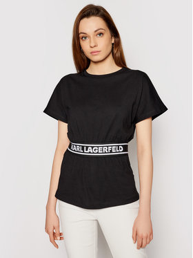 KARL LAGERFELD KARL LAGERFELD T-Shirt Loga Tape Top 211W1705 Schwarz Regular Fit