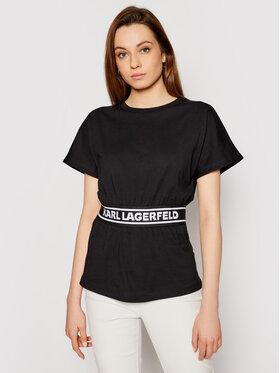 KARL LAGERFELD KARL LAGERFELD Tričko Loga Tape Top 211W1705 Čierna Regular Fit