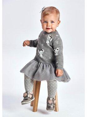 Mayoral Mayoral Комплект пуловер и рокля 2923 Сив Regular Fit