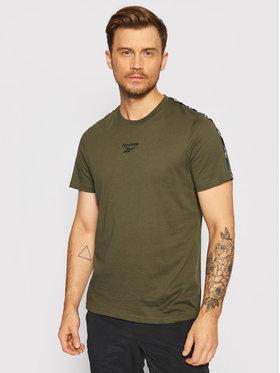 Reebok Reebok T-Shirt Essentials Tape GQ4207 Zielony Regular Fit