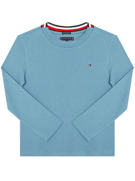TOMMY HILFIGER TOMMY HILFIGER Bluse Solid Rib Tee KB0KB06212 D Blau Regular Fit