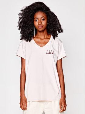 PLNY LALA PLNY LALA T-shirt Prima PL-KO-VN-00131 Beige V-Neck Fit