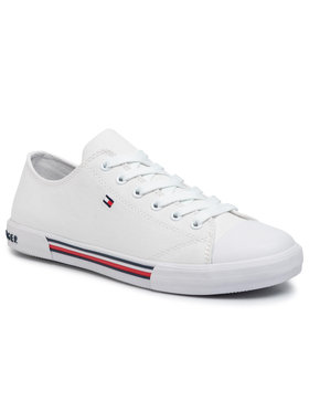 Tommy Hilfiger Tommy Hilfiger Sneakers aus Stoff Low Cut Lace-Up Sneaker T3X4-30692-0890 D Weiß