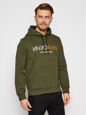 Calvin Klein Calvin Klein Bluza Text Reverse Front Logo K10K106404 Zielony Regular Fit