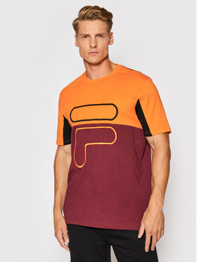 Fila Fila T-Shirt Paton Blocked 683451 Bordó Regular Fit