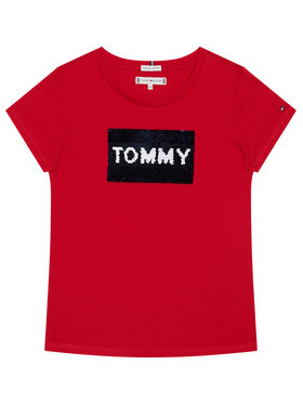 TOMMY HILFIGER TOMMY HILFIGER Marškinėliai Flag Flip Sequins Tee KG0KG05251 D Raudona Regular Fit