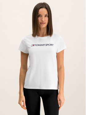 Tommy Sport Tommy Sport Tricou Logo Crew S10S100055 Alb Regular Fit