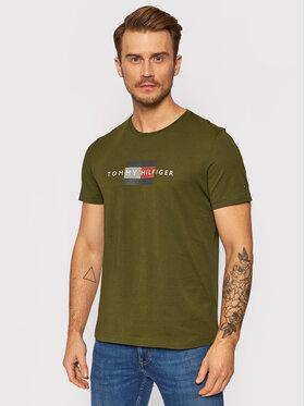 Tommy Hilfiger Tommy Hilfiger T-Shirt Lines MW0MW20164 Zelená Regular Fit