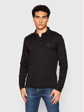 Calvin Klein Calvin Klein Тениска с яка и копчета Liquid Touch K10K107091 Черен Slim Fit