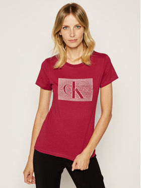 Calvin Klein Jeans Calvin Klein Jeans T-shirt Distressed Monogram J20J212285 Bordeaux Regular Fit