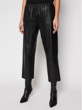 Pinko Pinko Kožené kalhoty Toast 2 PE 21 BLK01 1G15WY Y638 Černá Straight Fit
