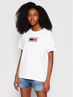 Tommy Jeans Tommy Jeans T-Shirt Timeless Flag DW0DW09924 Bílá Relaxed Fit