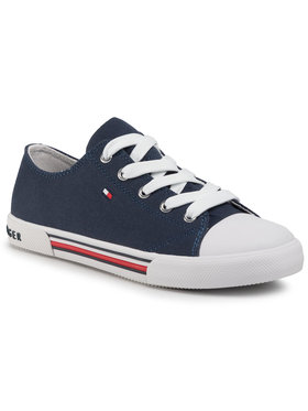 Tommy Hilfiger Tommy Hilfiger Sneakers aus Stoff Low Cut Lace-Up Sneaker T3X4-30692-0890 S Dunkelblau