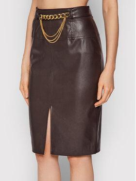Liu Jo Liu Jo Suknja od imitacije kože CF1009 E0641 Smeđa Slim Fit