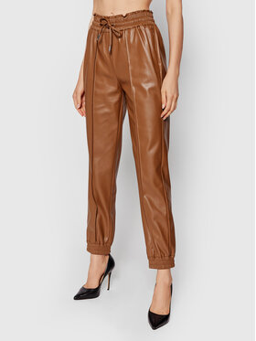 Guess Guess Kalhoty z imitace kůže Letizia W1YB98 WE0C0 Hnědá Jogger Fit