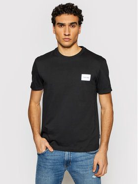 Calvin Klein Calvin Klein Тишърт Turn-Up Logo K10K107281 Черен Regular Fit