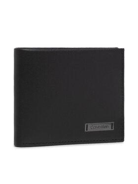 Calvin Klein Calvin Klein Голям мъжки портфейл Smooth W Plaque Slimfold 6Cc K50K504315 Черен