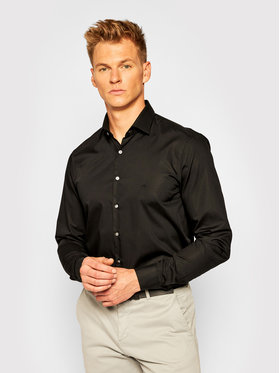 Calvin Klein Calvin Klein Košulja 2ply Poplin Stretch Slim Shirt K10K103025 Crna Slim Fit
