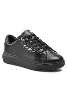 Tommy Hilfiger Tommy Hilfiger Sportcipő Signature Leather Sneaker FW0FW05806 Fekete