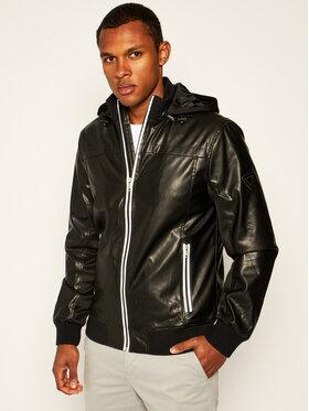 Guess Guess Kožená bunda M01L49 WCID0 Černá Regular Fit