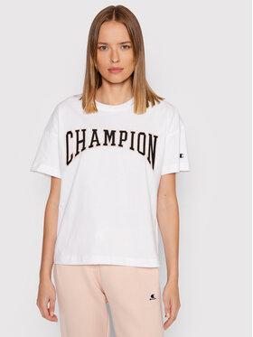 Champion Champion T-Shirt Collegiate Logo 114526 Biały Oversize