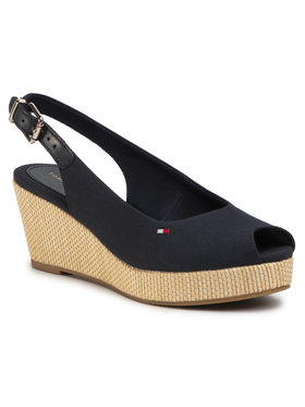 TOMMY HILFIGER TOMMY HILFIGER Espadrilės Iconic Elba Sling Back Wedge FW0FW04788 Tamsiai mėlyna