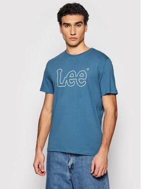 Lee Lee T-shirt Wobbly Logo Tee L65QAIQO Blu scuro Regular Fit