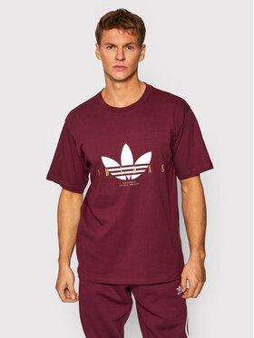 adidas adidas T-Shirt Treofil Script H31331 Bordowy Regular Fit