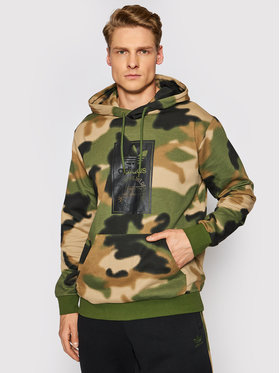 adidas adidas Bluza Camo Aop Hoodie GN1879 Zielony Regular Fit