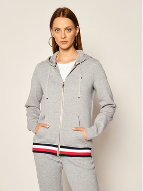 TOMMY HILFIGER TOMMY HILFIGER Μπλούζα Heritage Zip-Through WW0WW24971 Γκρι Regular Fit