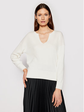 Calvin Klein Calvin Klein Sweter Logo Open Neck K20K202907 Beżowy Regular Fit