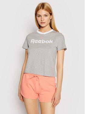 Reebok Reebok T-shirt Linear Logo GN5418 Grigio Slim Fit