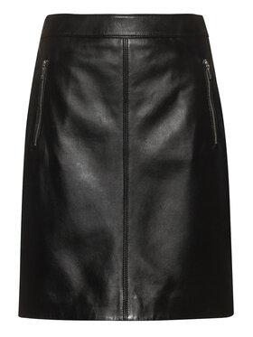 Hugo Hugo Kožená sukně Lesua 50435975 Černá Slim Fit