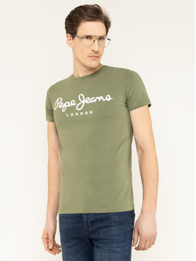 Pepe Jeans Pepe Jeans T-Shirt Original Stretch PM501594 Grün Slim Fit