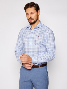 Tommy Hilfiger Tailored Tommy Hilfiger Tailored Košile Check Reg MW0MW16448 Modrá Regular Fit