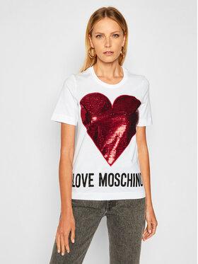 LOVE MOSCHINO LOVE MOSCHINO Tricou W4F152QM 3876 Alb Regular Fit